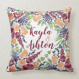 Create Your Own Hand-Painted Watercolor Bouquet Throw Pillow