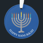"""Create Your Own Hanukkah Menorah Ornament<br><div class=""""desc"""">Create Your Own Hanukkah Menorah Acrylic Ornament. Menorah with nine candles and star of David on a blue festival of lights background on the front and back of the ornament. Happy holiday greetings and name of the family on the back. Place your own text, as desired. Choose the shape of...</div>"""