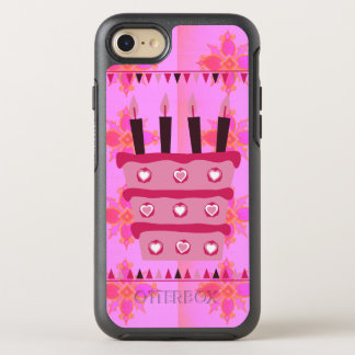 Create your own Happy Birthday Baby Pink Cake art OtterBox Symmetry iPhone 7 Case