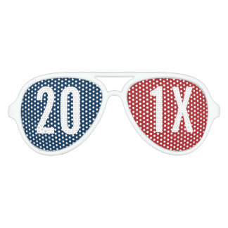 Create Your Own Happy New Year Party red blue Aviator Sunglasses