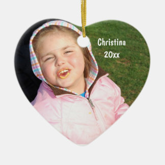 Create Your Own Heart Photo Keepsake With Text Ceramic Ornament