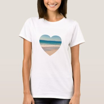 Beach Themed Create Your Own Heart Shaped Photo T-Shirt