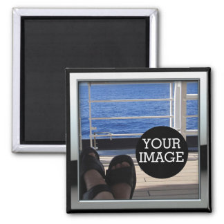 Create Your Own Here in Chrome Style Frame Magnet