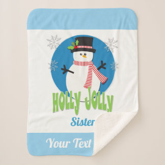 Create Your Own Holly Jolly Snowman Christmas Sherpa Blanket