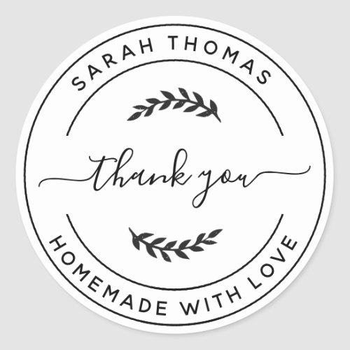Create Your Own Homemade with Love Thank You Classic Round Sticker