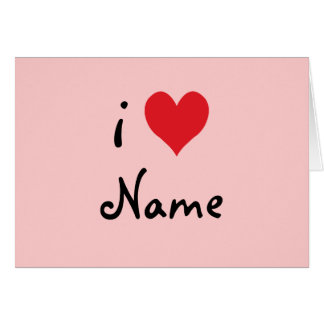 """Create Your Own """"I Love"""" Personalized Valentine Stationery Note Card"""
