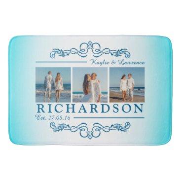 Beach Themed Create Your Own Instagram Beach Wedding Monogram Bathroom Mat