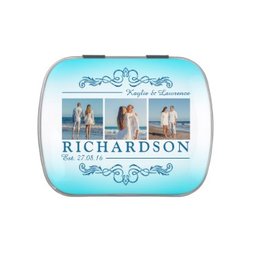 Beach Themed Create Your Own Instagram Beach Wedding Monogram Candy Tin