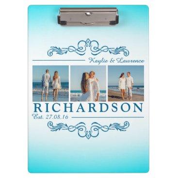 Beach Themed Create Your Own Instagram Beach Wedding Monogram Clipboard