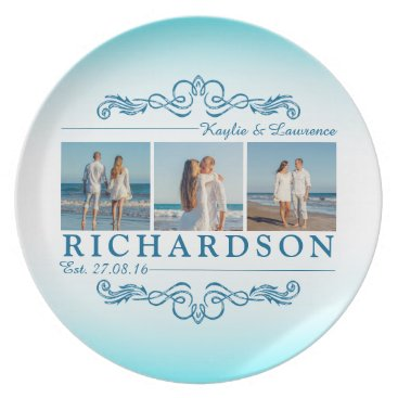 Beach Themed Create Your Own Instagram Beach Wedding Monogram Dinner Plate