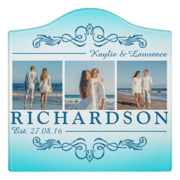 Beach Themed Create Your Own Instagram Beach Wedding Monogram Door Sign