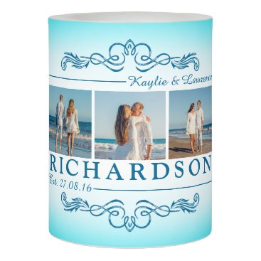 Beach Themed Create Your Own Instagram Beach Wedding Monogram Flameless Candle