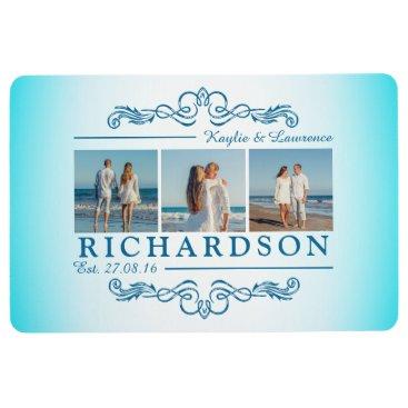 Beach Themed Create Your Own Instagram Beach Wedding Monogram Floor Mat