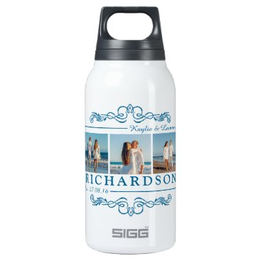 Beach Themed Create Your Own Instagram Beach Wedding Monogram Insulated Water Bottle