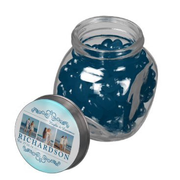 Beach Themed Create Your Own Instagram Beach Wedding Monogram Jelly Belly Candy Jars