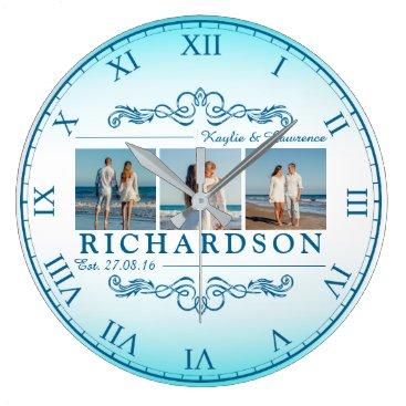 Beach Themed Create Your Own Instagram Beach Wedding Monogram Large Clock