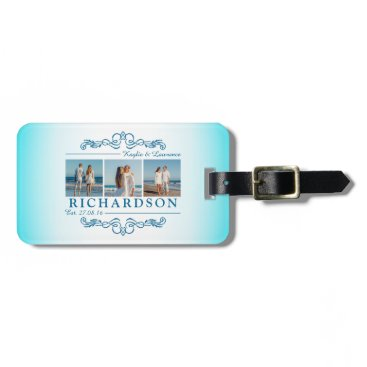 Beach Themed Create Your Own Instagram Beach Wedding Monogram Luggage Tag