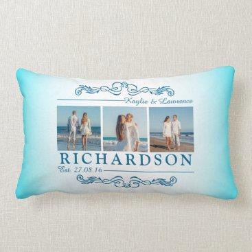 Beach Themed Create Your Own Instagram Beach Wedding Monogram Lumbar Pillow