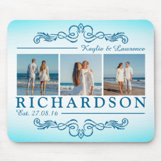 Create Your Own Instagram Beach Wedding Monogram Mouse Pad