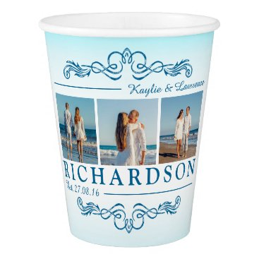 Beach Themed Create Your Own Instagram Beach Wedding Monogram Paper Cup