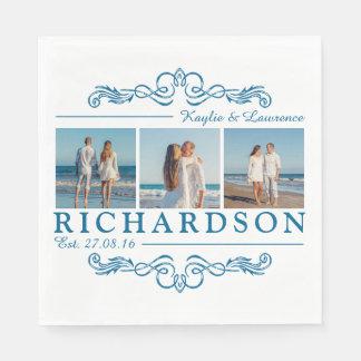 Create Your Own Instagram Beach Wedding Monogram Paper Napkin