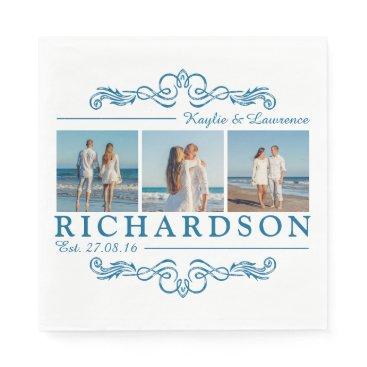 Beach Themed Create Your Own Instagram Beach Wedding Monogram Paper Napkin