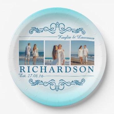 Beach Themed Create Your Own Instagram Beach Wedding Monogram Paper Plate