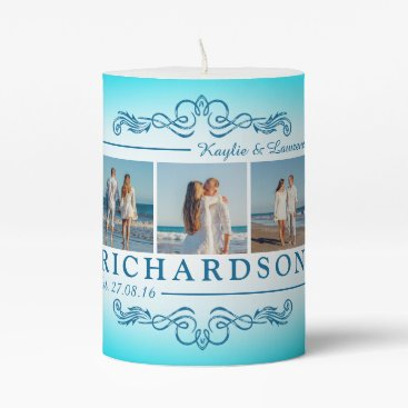 Beach Themed Create Your Own Instagram Beach Wedding Monogram Pillar Candle