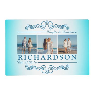 Beach Themed Create Your Own Instagram Beach Wedding Monogram Placemat