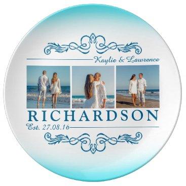 Beach Themed Create Your Own Instagram Beach Wedding Monogram Plate