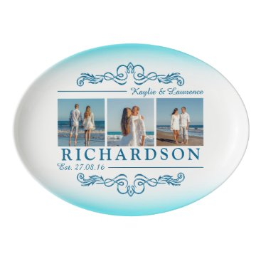 Beach Themed Create Your Own Instagram Beach Wedding Monogram Porcelain Serving Platter