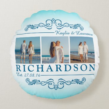 Beach Themed Create Your Own Instagram Beach Wedding Monogram Round Pillow