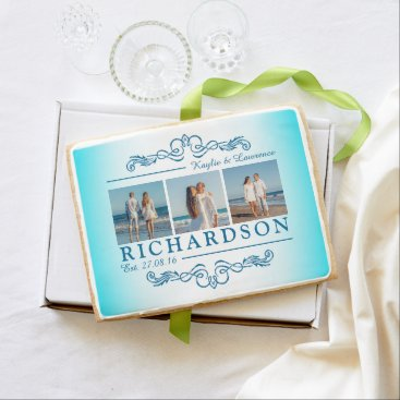 Beach Themed Create Your Own Instagram Beach Wedding Monogram Shortbread Cookie