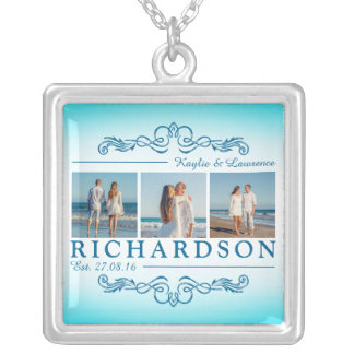 Create Your Own Instagram Beach Wedding Monogram Silver Plated Necklace