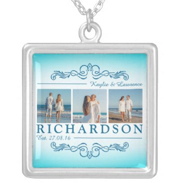 Beach Themed Create Your Own Instagram Beach Wedding Monogram Silver Plated Necklace