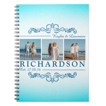 Beach Themed Create Your Own Instagram Beach Wedding Monogram Spiral Notebook