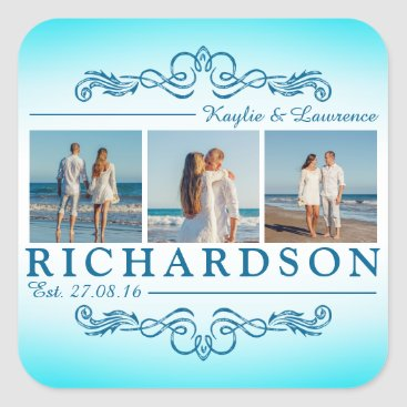 Beach Themed Create Your Own Instagram Beach Wedding Monogram Square Sticker