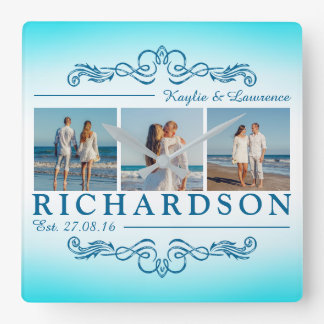 Create Your Own Instagram Beach Wedding Monogram Square Wall Clock