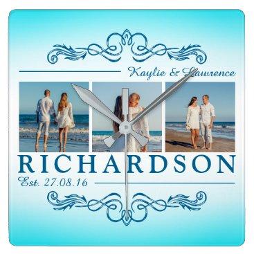 Beach Themed Create Your Own Instagram Beach Wedding Monogram Square Wall Clock