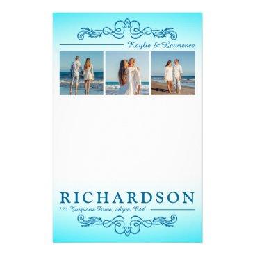 Beach Themed Create Your Own Instagram Beach Wedding Monogram Stationery