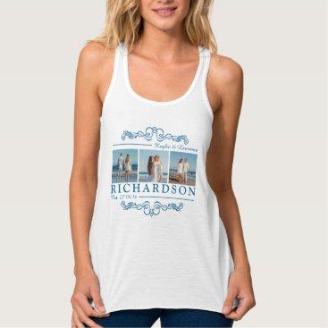 Beach Themed Create Your Own Instagram Beach Wedding Monogram Tank Top