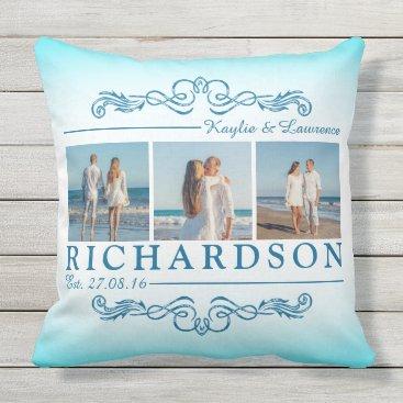 Beach Themed Create Your Own Instagram Beach Wedding Monogram Throw Pillow