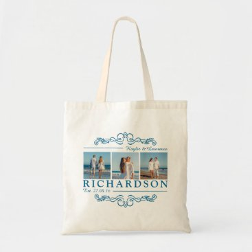 Beach Themed Create Your Own Instagram Beach Wedding Monogram Tote Bag