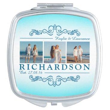 Beach Themed Create Your Own Instagram Beach Wedding Monogram Vanity Mirror