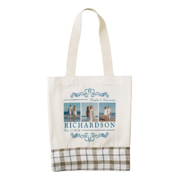 Beach Themed Create Your Own Instagram Beach Wedding Monogram Zazzle HEART Tote Bag