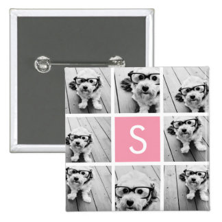 Create Your Own Instagram Collage Custom Monogram 2 Inch Square Button
