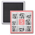Create Your Own Instagram Collage Custom Monogram 2 Inch Square Magnet