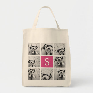 Create Your Own Instagram Collage Custom Monogram Grocery Tote Bag