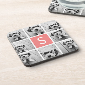 Create Your Own Instagram Collage Custom Monogram Beverage Coaster