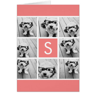 Create Your Own Instagram Collage Custom Monogram Greeting Card
